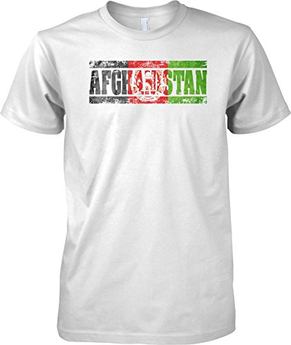 Afghanistan Grunge Country Name Flag Effect - Mens T Shirt - White - Adult Mens 42-44