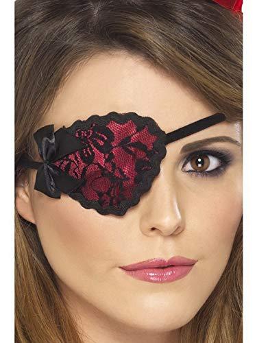 Luxuspiraten - Kostüm Accessoires Zubehör Damen edle Piraten Augenklappe mit Spitze, perfekt für Karneval, Fasching und Fastnacht, Rot (Kapitän Zur See Kostüm)