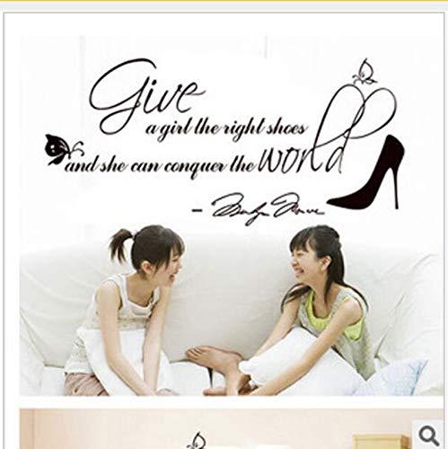 Ljtao Geben Sie Den Mädchen Die Richtigen Schuhe Brief Aufkleber Wandaufkleber Wohnkultur Wohnzimmer Dekoration Zubehör50X35Cm