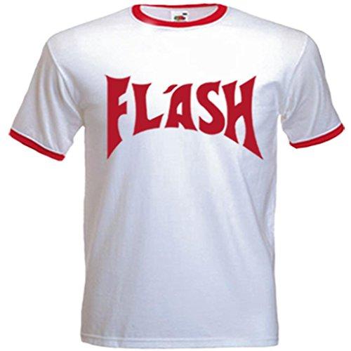 Urbano Shaolin uomo Flash Gorden (Freddie Mercury) ispirato maglietta, Medio, bianco con il rosso Trim