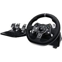 Logitech G920 Driving Force Racing Wheel Volante da Corsa con Pedali Regolabili, Ritorno di Forza Reale, Comandi Cambio in Acciaio Inossidabile, Volante in Pelle, Spina EU, Xbox One/PC/Mac, Nero