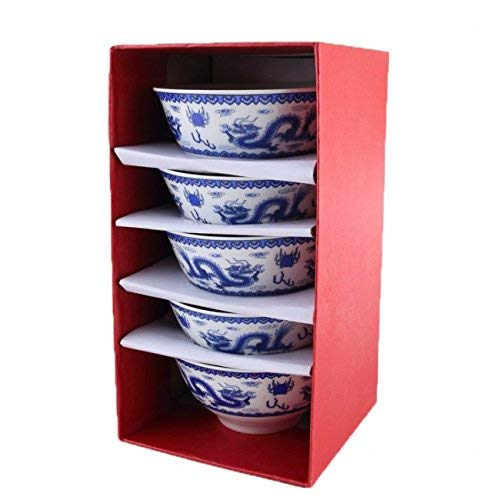 5 BOLS à RIZ DRAGONS CHINOIS - Teinte Bleu de Chine