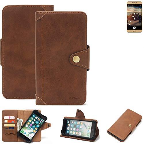 K-S-Trade® Handy Hülle Für Allview X3 Soul Plus Schutzhülle Walletcase Bookstyle Tasche Handyhülle Schutz Case Handytasche Wallet Flipcase Cover PU Braun (1x)
