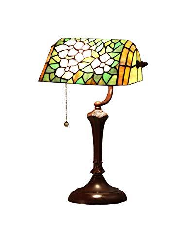 DLewiee Lamp Tischset Farbe Grün Antik Stehende Holzsockel für Wohnzimmer