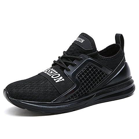 ASHION Herren Running Shoe Laufschuhe Atmungsaktive Mesh-Sportschuhe (43 EU, Schwarz)