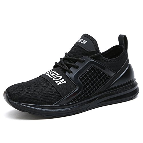 VITIKE Ashion Mens Trainers Gym Walking Trainers Fitness Lightweight Sports Running Shoes(EU39-Black)