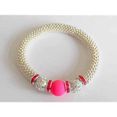 1 x Breast Cancer Awareness NEON-PINK Bling Snowflake Bracelet Kit. No Tools Required ! Wearing Pink Creates Breast Cancer Awareness; therefore the perfect way to raise awareness & show your support... by Angel Malone - Tie Nail Knot