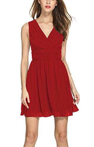 MILEEO Damen Chiffon Kleid Knielang mit Plissee-Falten Ärmellos Cocktailkleid EU40(Herstellergröße:L) Rotwein (Chiffon Kleid Cocktail)