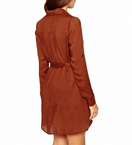 Femme Chemise Manches 3/4 Tunique Mini Robe T-Shirt Tops Haut Blouse Avec Ceinture Marron