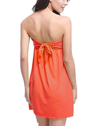 Donna Vestito Dalla Spiaggia Colore Puro Casuali Senza Maniche Abito Corto Giallo Arancia