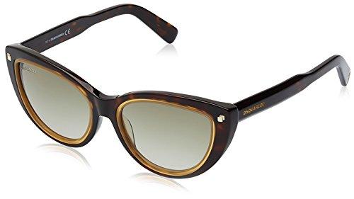 Dsquared2 dq0170_52p, occhiali da sole donna, havana/gialla, 53