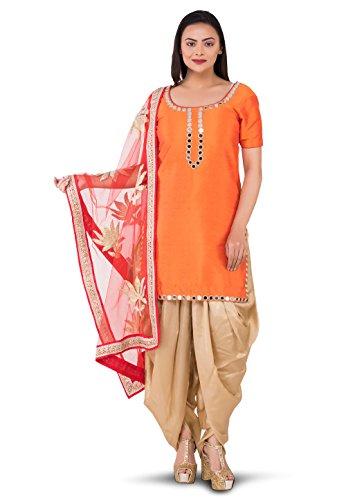 Utsav Fashion Embroidered Neckline Dupion Silk Punjabi Suit in Orange Colour