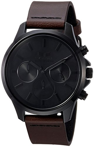 Vestal 'Heirloom Chrono' Quartz Stainless Steel and Leather Dress Watch, Color:Brown (Model: HEI39CL06.DBBK)