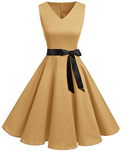 usschnitt Kleid Vintage Cocktailkleid Rockabilly Retro Schwingen Kleid Faltenrock Sandy Brown 3XL ()