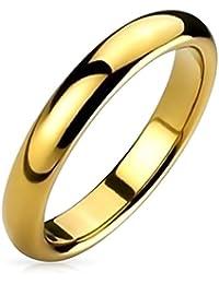 Bling Jewelry Cúpula Delgada Banda Boda Parejas Pulido Chapado En Oro De 14K Anillo De Tungsteno para Hombres Y para Mujer De 6 Mm Y