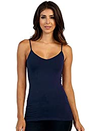 3c76e56a37a pietra Adjustable Spaghetti Strap Camisole Basic Seamless Tank Top Navy  Blue Women