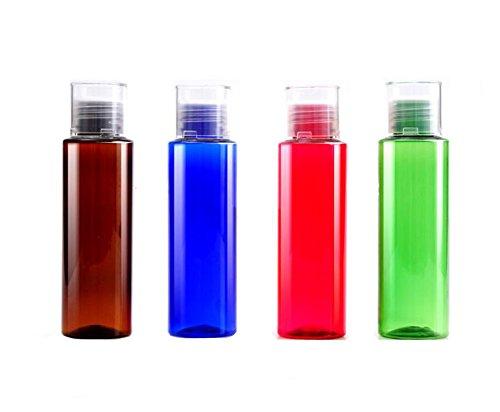 100ml 3.4oz vacío portátil recargables, caña de plástico make Up Vial De Botella de agua de viaje envase contenedor de botella con reductor de orificio y tapa de rosca para cartucho de loción Gel de ducha champú Aceite Esencial (Pack de 3)