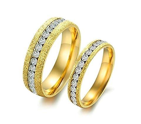 Bishilin Paarepreise Frauen Männer Edelstahlring Hochglanzpoliert Breite 4/6MM mit Zirkonia Eherring Trauring Gold Ringe Demen Gr. 57 (18.1)&Herren Gr. 54 (17.2)