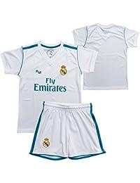 Conjunto - Kit 1ª Equipación Replica Oficial REAL MADRID 2017-2018 Sin Dorsal LISO -