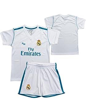 [Patrocinado]Conjunto - Kit 1ª Equipación Replica Oficial REAL MADRID 2017-2018 Sin Dorsal LISO - Tallaje NIÑO (14 años)