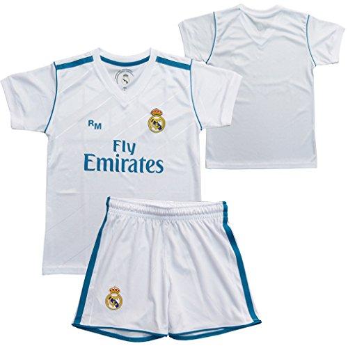 Conjunto - Kit 1ª Equipación Replica Oficial REAL MADRID 2017-2018 Sin Dorsal LISO - Tallaje NIÑO (6 años)