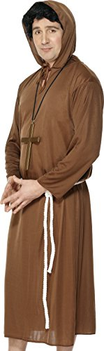 Price comparison product image Smiffy's Adult men's Monk Costume, Hooded Robe and Belt, Saints and Sinners, Serious Fun, Size L, 20424