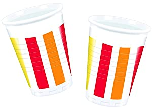 Procos - Vasos de plástico 200 ml, Pepper Stripes, 10 unidades, multicolor, PR80750
