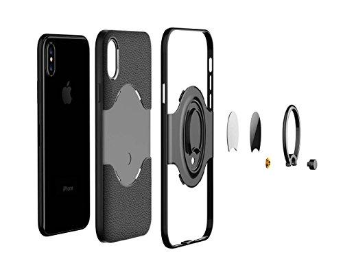 cover iPhone 7/8 Silicone Blu+Nero Soft cover TPU+Hard PC telaio paraurti Strisce Modello Litchi Assorbimento magnetico anello supporto case DECHYI Verde scuro+Nero