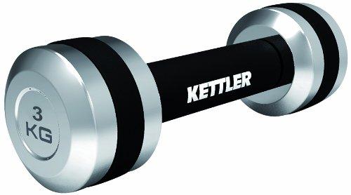 Kettler 2er-Set Chrom Hanteln – 2 x 3 kg Kurzhanteln mit gepolsterter Griffstange und TPR-Ring – kompakte Fitnessgeräte für Zuhause und das Fitnessstudio – silber & schwarz