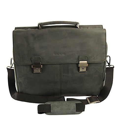 Marc Picard handgearbeitete Aktentasche Laptop bis 15,6 Zoll, Business Tasche, für Universität und Beruf, Herrentasche Umhängetasche, DIN-A4 Laptoptasche, Notebooktasche 42x33x16 (Schwarz)