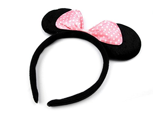 Haarreifen mit Minnie Mouse Ohren und Schleife – Mickey Mouse Mini Maus Haarband – ZADA Beauty (Kostüm Maus Minnie Mickey Maus Und)