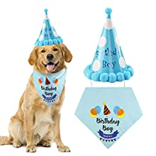 Dog Scarf Dog Birthday Bandana Triangle Cotton Dog Scarfs Puppy Birthday Party Hat for Medium and Large Dogs Birthday Decorations Set