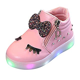 Anglewolf Children Colorful Light Shoes Toddler Infant Baby Boys Girls Star Luminous Boots Up Led Sneaker Kids Athletic Soft Outdoor Sport Sneakers(Pink,7.5 UK)