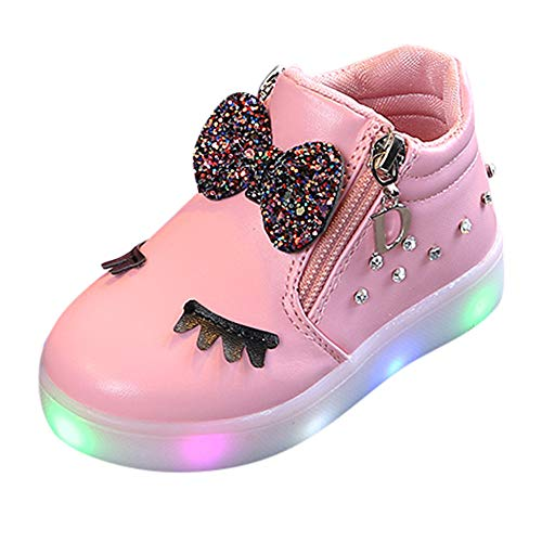 Zapatillas Niño Luces,BBsmile Zapatos de Bebe Niñas LED Luz Fashion Sneakers Star Luminous Child Casual Zapatillas Unisex Invierno Niño Botas Niño 26 Rosa