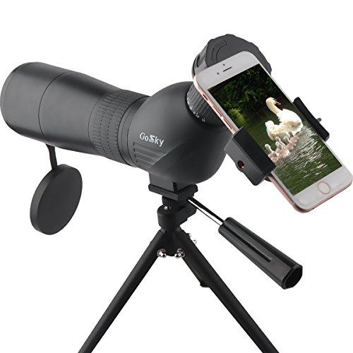 Gosky Spektiv 15-45 x 60 Spektiv für Outdoor Sport (abgewinkelt) - mit Stativ und Handy Adapter
