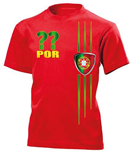 Portugal Wunsch Zahl ohne Name Fan t Shirt Artikel 3215 Fuss Ball Kinder Kids Jungen Mädchen Unisex EM 2020 WM 2022 camisola Trikot Look 140