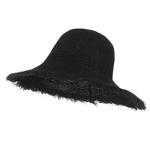 HUOLIMAO Sommer Faltbare Sonnenhut Für Frauen Floppy Wide Brim Dome Eimer Hut Fischer Hut Baumwolle Und Stroh Gemischt Gewebt -