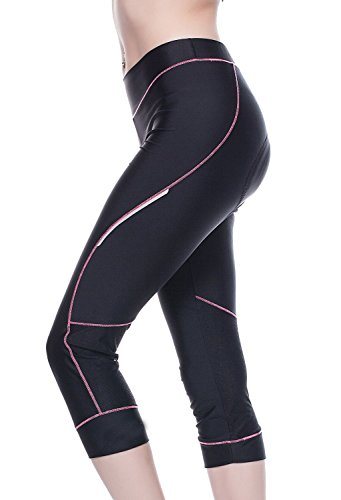 4Ucycling Damen Fahrradhose Kurz Radhose Gepostert Cycling Hose 3/4 Leggings Pink XL