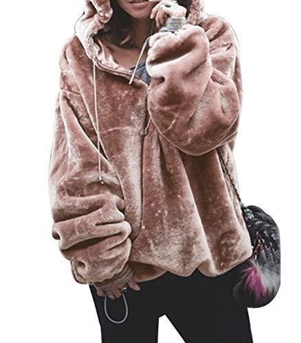 ZIYYOOHY Damen Kapuzenpullover Plüsch Reißverschluss V-Ausschnitt Übergroß Hoodie Sweatshirt (L(40), Rosa) - Plüsch Pullover