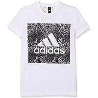 Adidas Yg Logo Loose T Camiseta, Niñas, (Blanco/Negro), 152 (11/12 años)