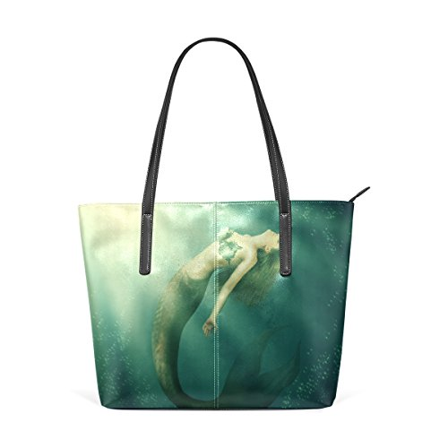 Coosun Fantasy schöne Frau Meerjungfrau mit Schwanz PU Leder Schultertasche Handtasche und Handtaschen Tasche für Frauen
