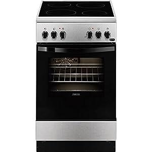 Zanussi ZCV550G1XA Independiente A Negro, Acero inoxidable – Cocina (Cocina independiente, Negro, Acero inoxidable…