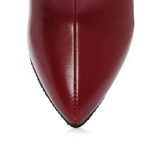 Haut VogueZone009 Cheville Mélangee Vineux Matière Bottes Rouge Zip Femme De Pointu Talon à TT6wXq
