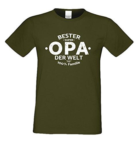 Vatertagsgeschenk Papa Vater Großvater Herren T-Shirt :-: Bester Opa der Welt :-: Geschenkidee für Ihren Opa - Ihn Männer oder Rentner - Farbe: khaki Khaki