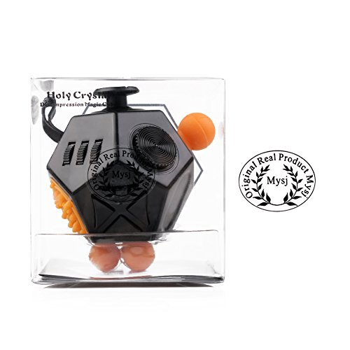 Mysj 12 Sides Fidget Magic Anti-anxiety and Depression Cube Pressure Relief Increasing Focus Puzzle for Children and Adults (Black) -