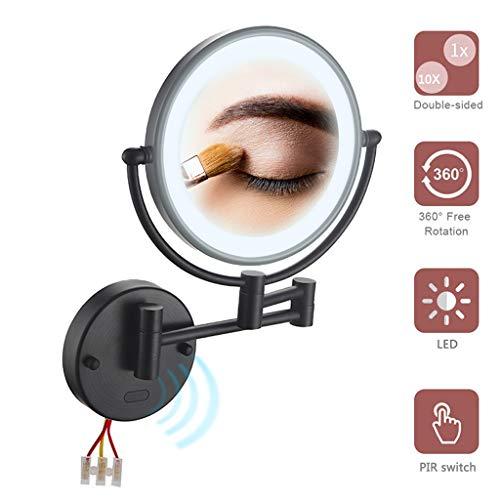NMRCP Espejo de Maquillaje con luz led y Aumento de 10X, Doble Cara giratoria de 360 ° Extensible Fácil...