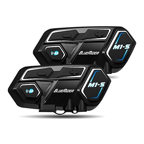 Bluerider Motorrad Intercom Helm Headset Gegensprechanlage Bluetooth 4,1 bis zu 8 Reiters, CVC Rauschunterdrückung, Wasserdicht Vollduplex, 10 Std Sprechzeit, für Siri Google Assistant, 2 Stück