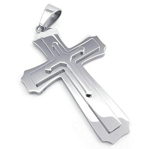 AMDXD Catena Gioielli Collana in Acciaio Inox Lucidato Grandi 4.1cm Croce d'argento 24 Pollici Collane Uomo