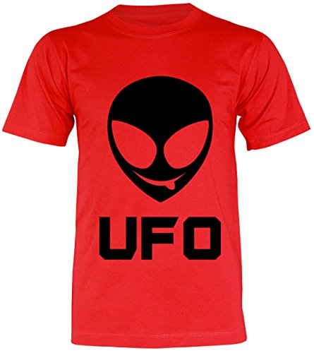 PALLAS Unisex's Alien Smile Funny UFO T-Shirt Red