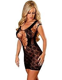 String Damen-Kleid Abendkleid Cemise schwarz Obsessive Minikleid Obsydian inkl